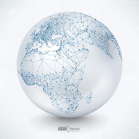 Resumen de Telecomunicaciones Earth Map - diseño EPS10 vector