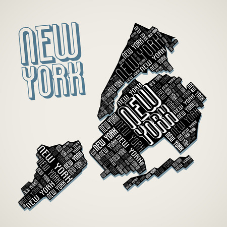 hudson river: Abstract New York City Map from Letters Illustration