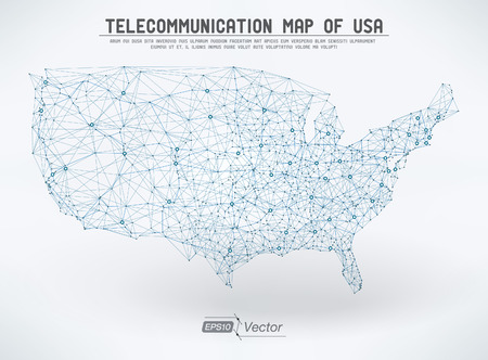 Abstract telecommunication USA map