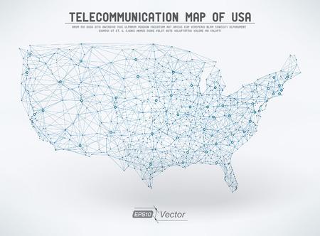 Estratto di telecomunicazioni USA map Archivio Fotografico - 26014113