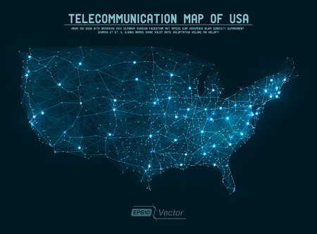 map of usa: Abstract telecommunication network map - USA