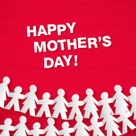 Happy mother s day greeting card with paper chain decoration Vettoriali