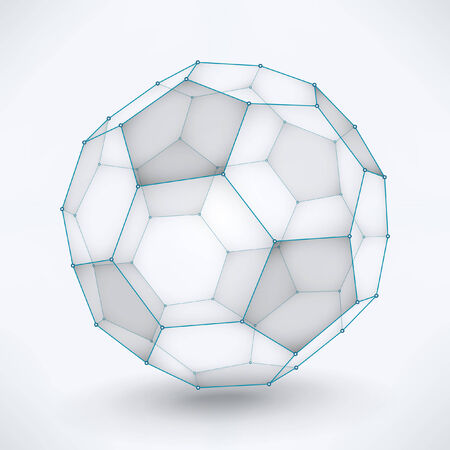 Wireframe Soccer Ball   Vector 3d soccer ball concept   organized layers Vettoriali