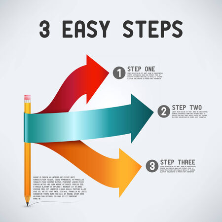 Three easy steps | Perspective arrows with pencil Vettoriali