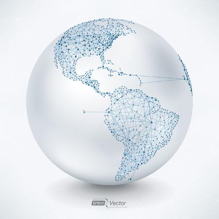 Estratto Earth Map Telecommunications America Vettoriali