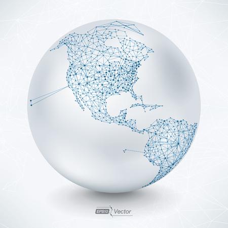 telecommunication: Abstract Telecommunication Earth Map - North America Illustration