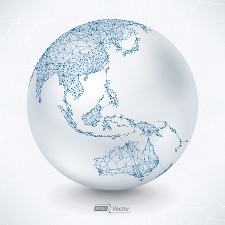 world map blue: Abstract Telecommunication Earth Map - Asia, Indonesia, Oceania, Australia
