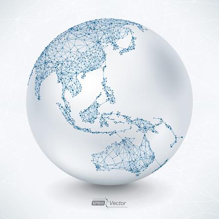 Abstract Telecommunication Kaart van de Aarde - Azië, Indonesië, Oceanië, Australië Vector Illustratie