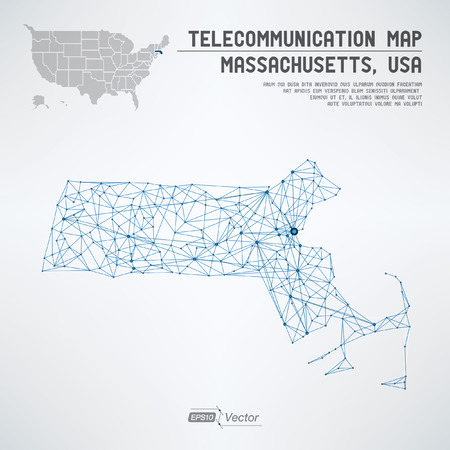 Abstract Massachusetts / USA telecommunication concept map