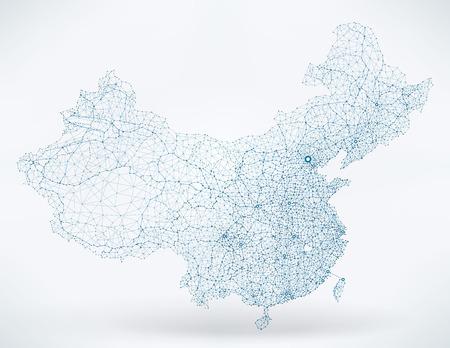 telecommunications technology: Abstract telecommunication network map - China