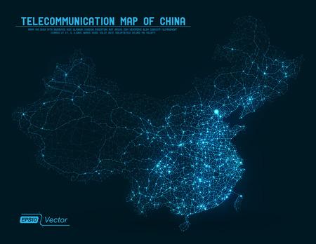 추상 통신 네트워크 맵 - 중국 일러스트