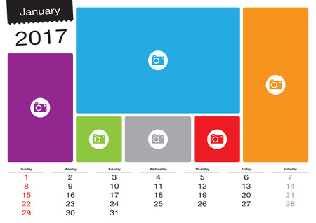 Vector calendar January 2017 with image frames, A3 size