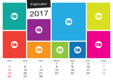 image size: Vector calendar February 2017 with image frames, A3 size