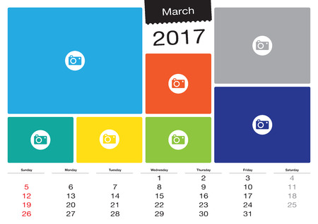 Vector March calendar 2017 with image frames, A3 size Vettoriali
