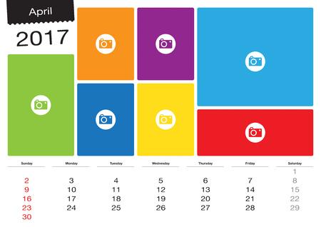 image size: Vector calendar April 2017 with image frames, A3 size