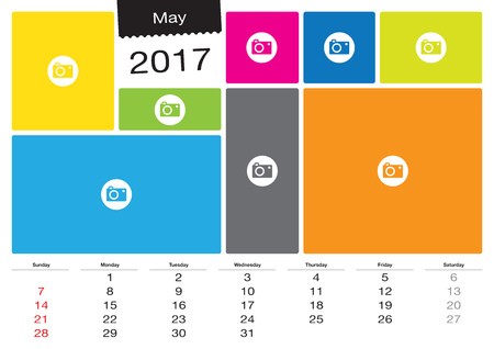 Vector calendar May, 2017 with image frames, A3 size