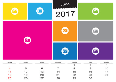 image size: Vector calendar June, 2017 with image frames, A3 size