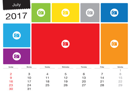 Vector calendar July 2017 with image frames, A3 size