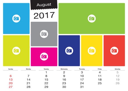 scheduler: Vector calendar August 2017 with image frames, A3 size