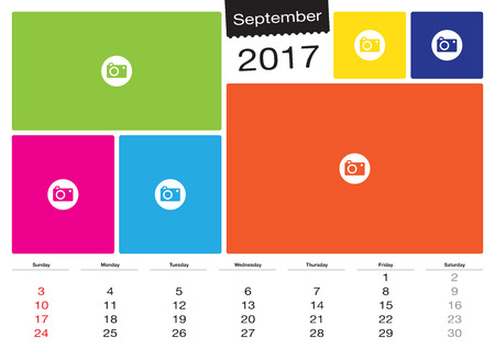 Vector September calendar 2017 with image frames, A3 size