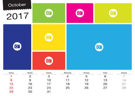 Vector calendar October 2017 with image frames, A3 size