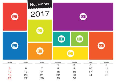 Vector calendar November 2017 with image frames, A3 size