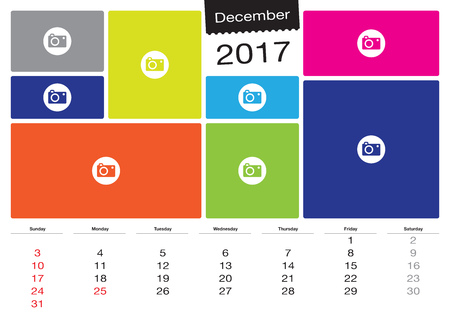 image size: Vector calendar December 2017 with image frames, A3 size