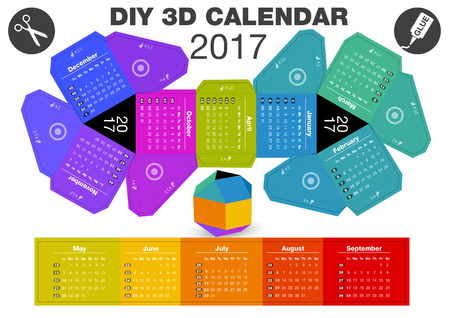 3D DIY Calendar 2017 | A4 print | 3,1x2,9 inches compiled size | Assembly instructions: https:www.youtube.comwatch?v=TgZUOk0DzXo