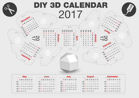 3D DIY Calendar 2017 | A4 print | 3,1x2,9 inches compiled size | Assembly instructions: https://www.youtube.com/watch?v=TgZUOk0DzXo Vettoriali