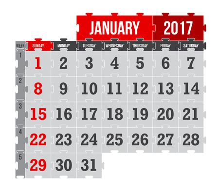 Vector puzzle calendar January 2017