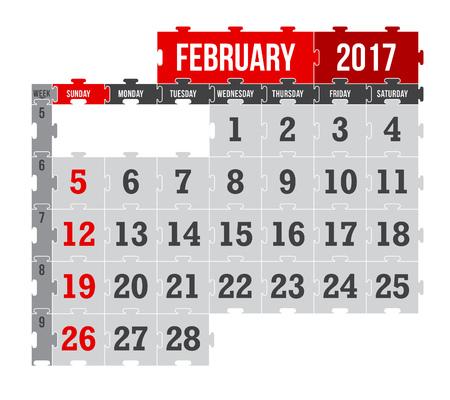 Vector puzzle calendar February 2017