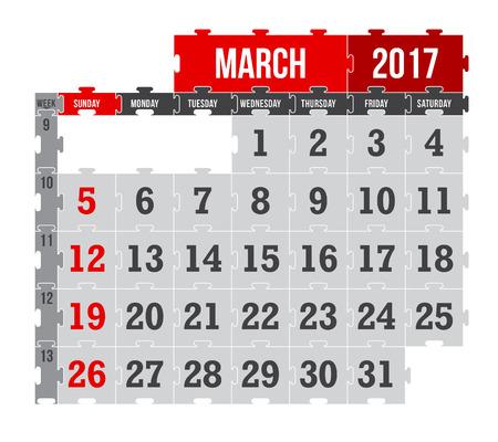 Vector puzzle calendar March 2017