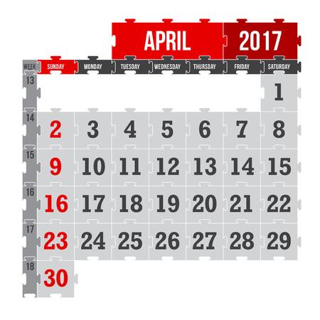 Vector puzzle calendar April 2017