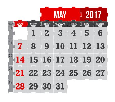 Vector puzzle calendar May 2017