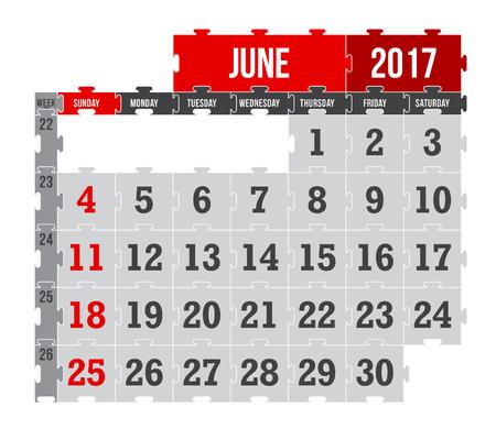 Vector puzzle calendar June 2017 Vettoriali