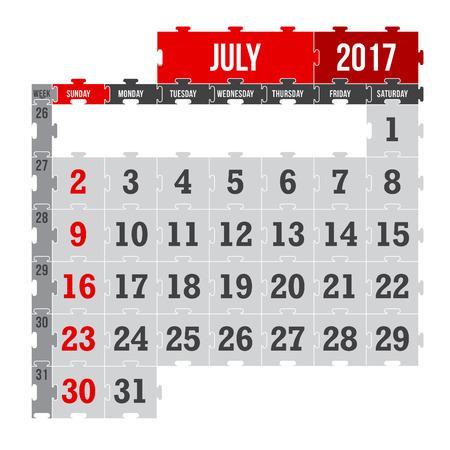 Vector puzzle calendar July 2017