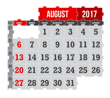 Vector puzzle calendar August 2017