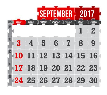 Vector puzzle calendar September 2017 Vettoriali