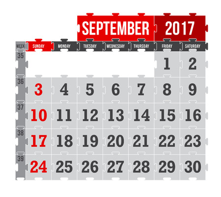 schedulers: Vector puzzle calendar September 2017 Illustration
