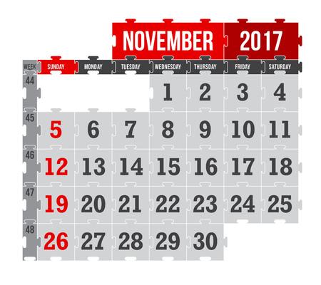 Vector puzzle calendar November 2017