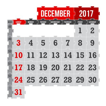 Vector puzzle calendar December 2017