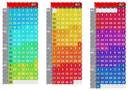 Vector puzzle calendar 2017 Vettoriali