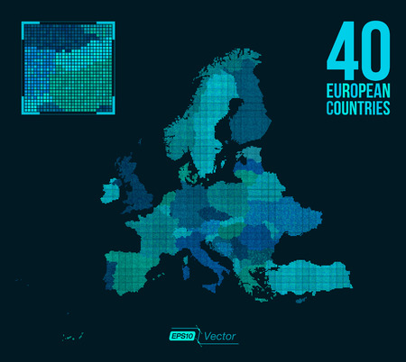 ukraine: Dot Matrix Vector Map Europe - 40 European Countries