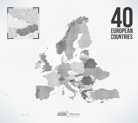 Dot Matrix Vector Map Europe - 40 European Countries