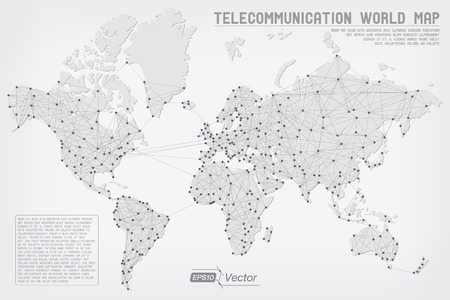 Telecommunication Abstract World Map - Detailed EPS10 vector design - Organized layers Vettoriali