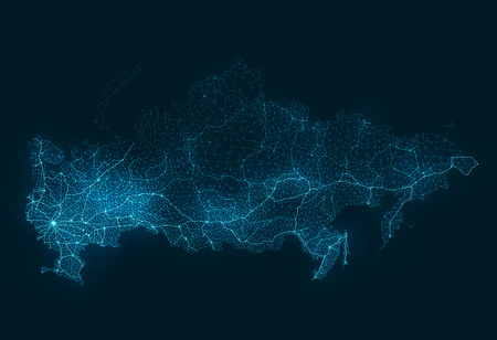 russia map: Abstract Telecommunication Network Map - Russia