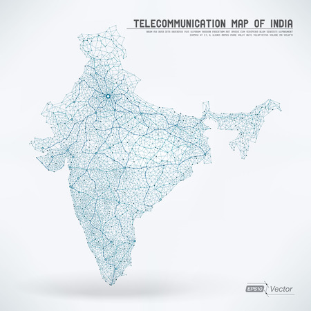Abstract Telecommunication Network Map - India Vettoriali
