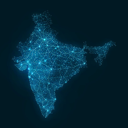 Abstract Telecommunication Network Map - India Иллюстрация