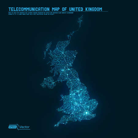 Abstract Telecommunication Network Map - United Kingdom
