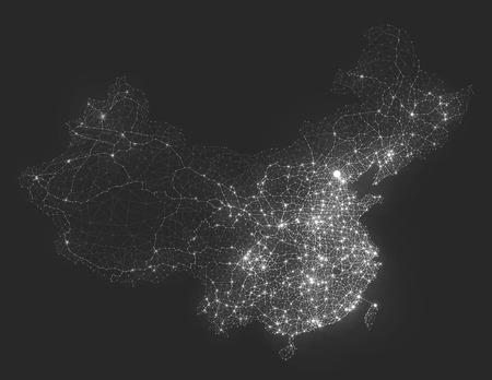 Abstract telecommunication network map - China
